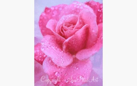 Rose Living Room Art - Rose Art Print, Pink Living Room Art, Gift for Mom, Pink Home Decor, Pink Decor, Rose, Living Room Art, Flower Art.