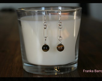 Tiger eye and silver earrings
