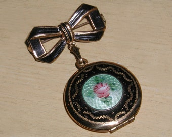 Fabulous 30's Vintage Brass & Blue Guilloche Black Enamel, Hand Painted Pink Rose 2 Photo Bow Locket Brooch Pin