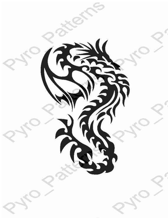 Pyrography Wood burning Chinese Dragon Pattern Printable Stencil