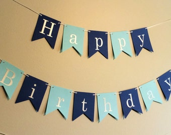 Happy Birthday Banner, 1st Birthday Boy, First Birthday, Cake Smash Photo, Blue Banner, Blue Party Decor, Personalized, Custom Name Banner