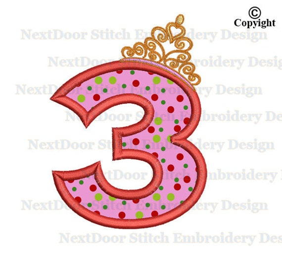 Princess Crown 3rd birthday embroidery design fat numbers