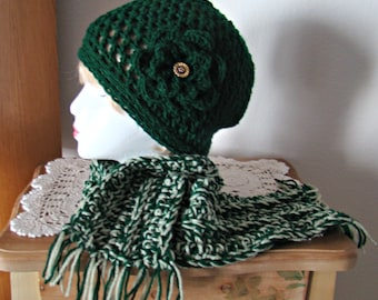 Chunky Flowered Hat and matching Scarf