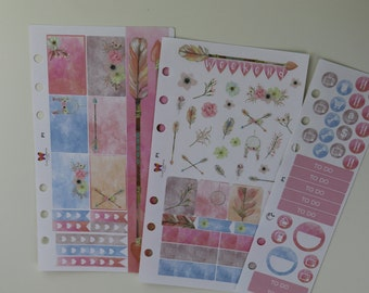 Pastel Watercolor Tribal Personal Planner Stickers | Weekly Set | 6 hole punched for Filofax P1