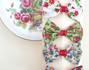 Hair bow set - Reds and Greens