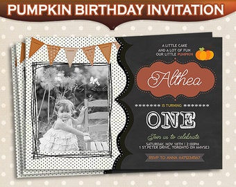 Pumpkin Birthday Invitation First Birthday Orange Pumpkin