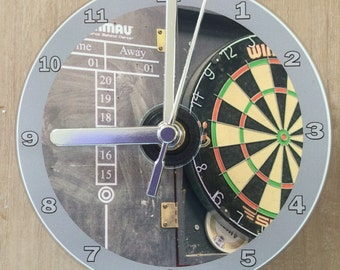 Dartboard with Darts Scoreboard CD Clock (Can be personalised)