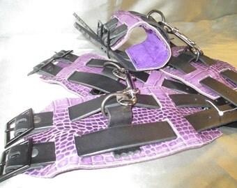 SALE - Set Purple Crocodile Print and Black Italian Leather Double Fasten Wrist/Ankle restraint Cuffs (Set 006)