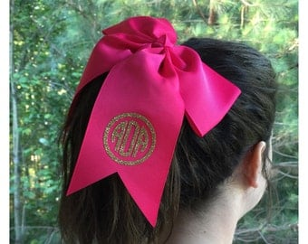Monogrammed girl's hair bow! Pick your color! Glitter!