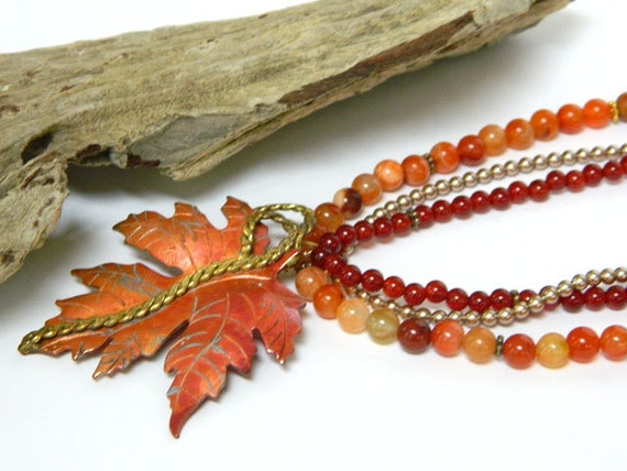 Orange Beaded Necklace with Copper Leaf Pendant by Blonde Peach Jewelry