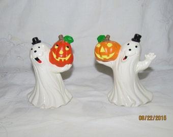Ceramic Halloween Ghosts with Pumpkins Figurines