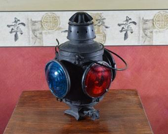 Railroad Lantern, Signal Lantern, Antique Railroad Light, Metal Train Lamp, #214
