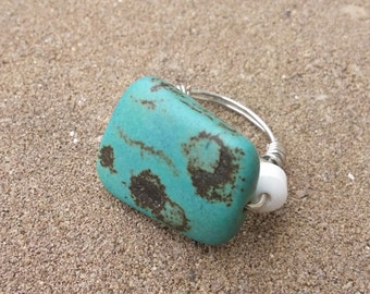 Rectangular Turquoise Ring (Size 6)