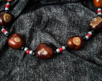 Scarlet, gray and black beads game day buckeye necklace