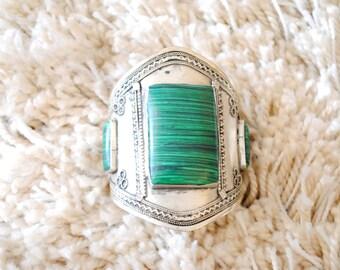 Handmade Kuchi Tribal Cuff Bracelet-Green Agate