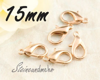 10 x carbines 15mm rose gold plated art. 1466