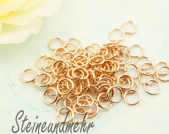50 x jump rings 6 x 0.8 mm rose gold plated art. 1726