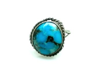 Vintage 1960s Morenci Turquoise and Sterling Silver Ring Rope Work Size 7