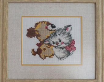 "Completed cross stitch handmade embroidery ""Puppy and kitten"", framed"