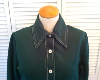 Mod Vintage Forest Green Polyester Jacket/Top with White Stitching