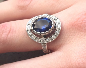 Blue Sapphire Ring, Created Sapphire, Vintage Ring, Antique Sapphire Ring, Antique Rings, Solid Silver Ring, Blue Vintage Ring, Pure Silver