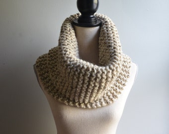Chunky Knit Infinity Cowl in Oatmeal, Oversized Infinity Cowl, Tan Knit Cowl