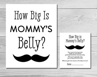 Little Man Mustache Black and White Baby Shower Game - How Big is Mommy's Belly? - Instant Download Printable - Baby Boy