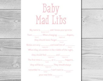 Simple Pink Baby Shower Activity - Baby Mad Libs - Instant Download Printable - Baby Girl