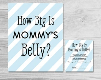 Simple Blue and Black Baby Shower Game - How Big is Mommy's Belly? - Instant Download Printable - Baby Boy