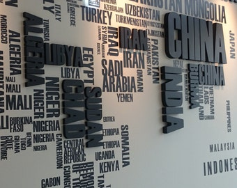 3D signs / letters on a large map with Company logo Large wall decal and  big letters Free shipping  Wall decal office decor  3D signs map