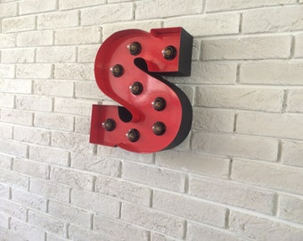 Modern Industrial Home decor Marquee letters, Illuminated BIG marquee letter - you choose the letter or the numbers and the color.