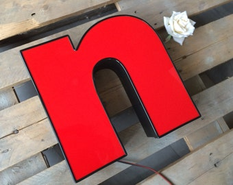 Channel letter N LED illimunation, letter tall 13'' (33 cm). Wall hanging illuminated LED letter. Industrial letter N. RED N letter