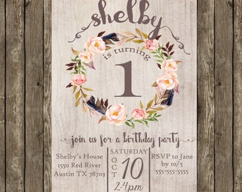 Birthday Party Invitation for Girls Printable, Birthday Party Invitation Girl, Shabby Chic Birthday Invitation, Girl Birthday Invitation
