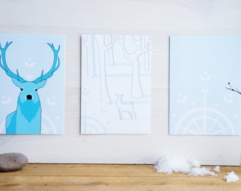 Winter postcards. set of three