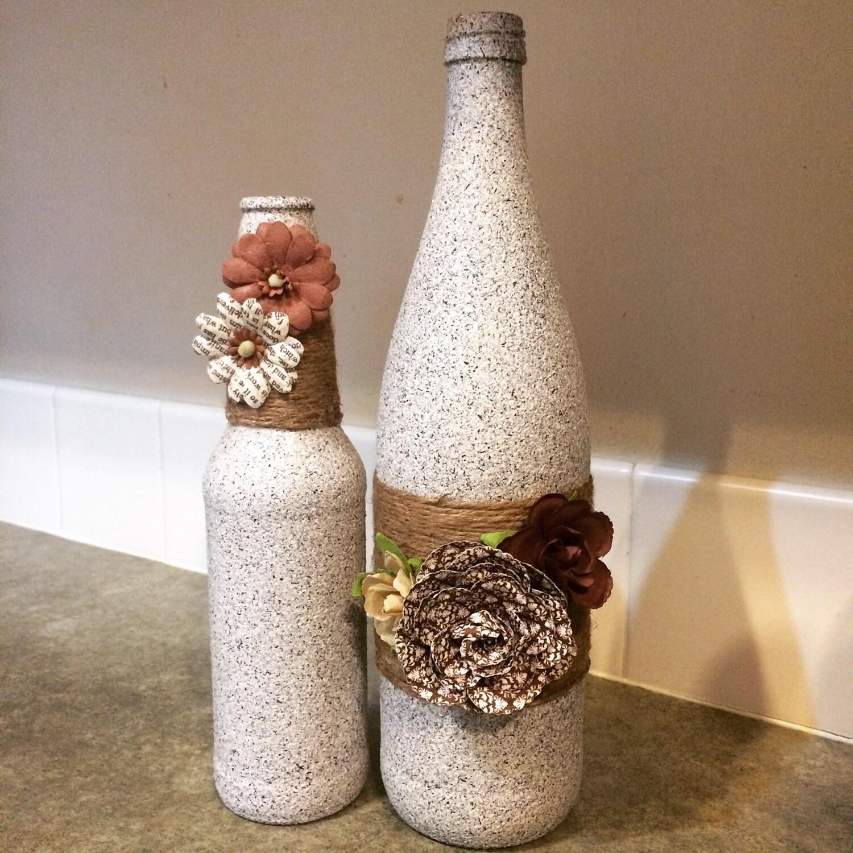Wine Bottle Home Decor: Wine Bottle Decor Rustic Home Decor Stone Textured Bottle