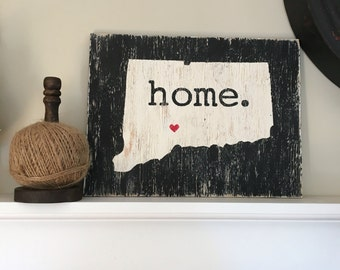 Connecticut painted wood sign. Home. Wall art.