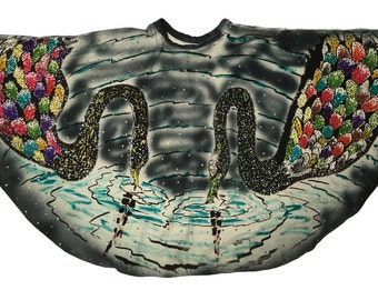 REDUCED 1950s Hand Painted Mexican Circle Skirt Black Swans and Sequins!