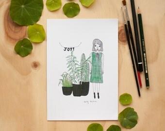Green Girl Print