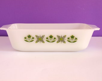 Retro Vintage Anchor Hocking Fire King Green Meadow Pattern Rectangle Casserole Dish - Serving Dish 441 - Made in USA
