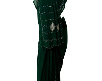 Green Indian Saree Fashionable Women New Dress Georgette Blend Fabric Bollywood Embroidered Sari 5Yard SI2308