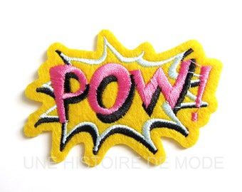 "Patch, patch fusible comic ""POW"" to sew or iron 80 x 55 mm"