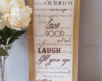 Beautiful Framed Wedding Vows Oath Promise. Can be personalised