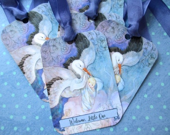 Baby Gift Tags Stork - Set of 6