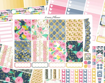 Roses Weekly Kit or Al a Carte (matte planner sticker, fits perfect in Erin Condren Life Planner Vertical)