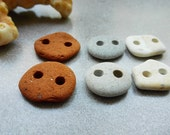 Beach terracotta buttons Handmade decorative buttons Sea stone buttons 6 pcs