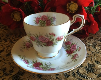 Vintage Paragon English Flowers Sweet William Tea Cup and Saucer