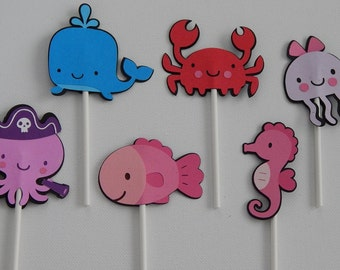 Under the Sea Cupcake Toppers Qty12 - cake decorations, party supplies, party decorations