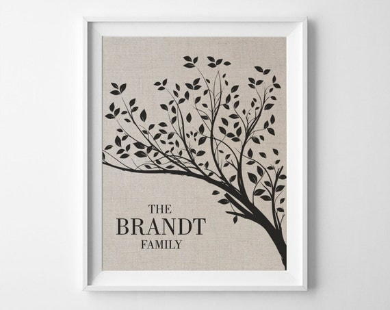 Linen Wedding Anniversary Gifts: Linen 4th Anniversary Gift Family Tree Print Personalized