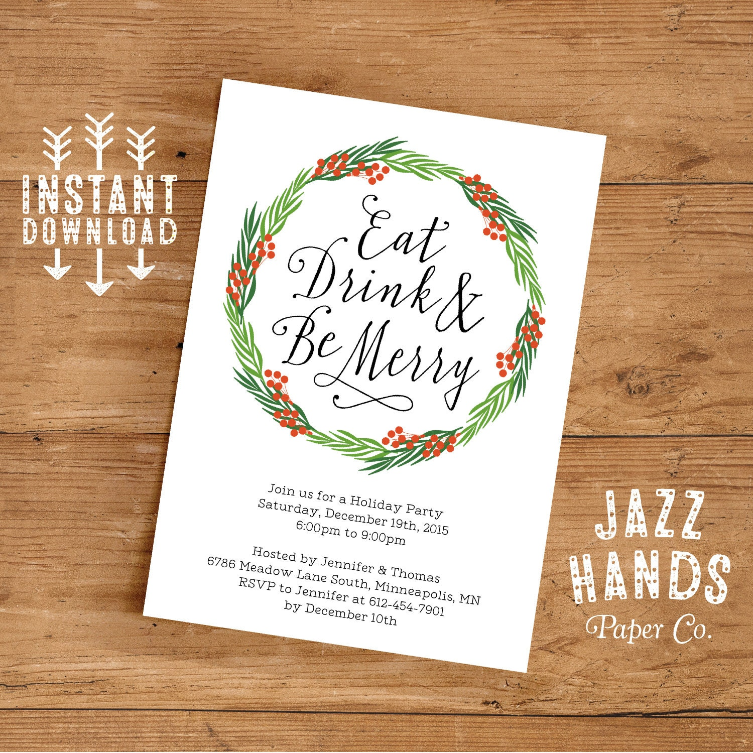 christmas invite eat drink and be merry invitation template diy printable holiday invitation wreath christmas party invitatio
