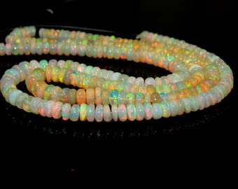 "70%OFF Ethiopian Opal Multi Fair Rondelle beads - 14""Inches - Size 6.4x5.1 mm Approx  - 0452"